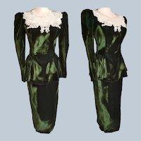 Scott McClintock EMERALD GREEN Shimmery Velvet 1940's-Style Party Dress