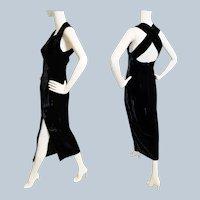Sexy, Slit, Velvet Criss-Cross Gown