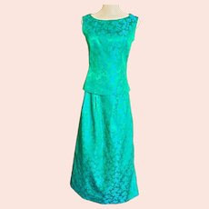 Shimmery, Shiny Green & Blue Brocade Ensemble