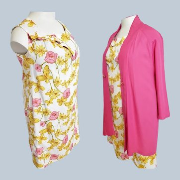 Summertime Ensemble, Shift Dress & Passionate Pink Swing Coat for the Curvy Lady
