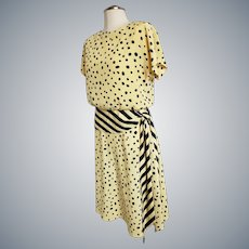 Sunny Yellow and Black Dots 'n Stripes Dress