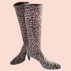 """VANELI """"Lilike' Tall Leopard Print Stretch Boots"""