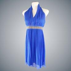 Vibrant Royal Blue Halter Party Dress