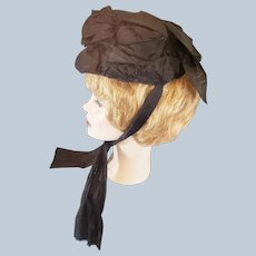 """Victorian """"Mourning"""" Bonnet of Satin Bows"""