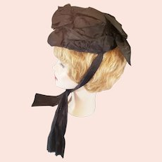 "Victorian ""Mourning"" Bonnet of Satin Bows"
