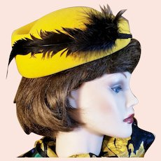 Vintage Feathered Yellow-Gold Gem of a Hat