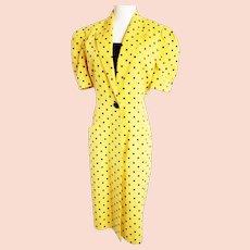 Vintage Leslie Fay Sunshine Yellow Polka Dot Dress