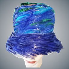 Vivacious Vibrant-Colored 1960's Feather Hat