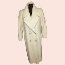 Winter White Double-Breasted Wool Coat