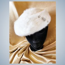 Winter White Vintage Saucer Hat with Sparkle!