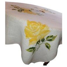 Yellow ROSE of Texas Linen Tablecloth