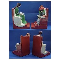 Deco French Aladin Jester and Lady Bookends