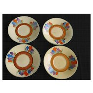 Clarice Cliff Crocus Athens Teacups and Saucers