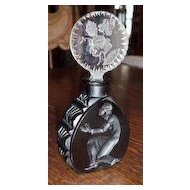 Czech Ingrid Black Opaque Deco Lady Rose Stopper Perfume Bottle