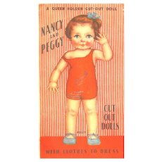 QUEEN HOLDEN Nancy and Peggy Paper Dolls with clothes to Dress #917; 1933 WHITMAN pUBLISHING, Uncut