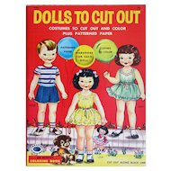 Vintage DOLLS TO CUT OUT: Costumes to Cut Out and Color Plus Patterned Paper - Treasure Coloring Books, An Activity Coloring Book 1957; 64 Pages