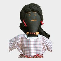Vintage Black Cotton Doll, Handmade in South Carolina with Yarn Hair and Bead Necklace