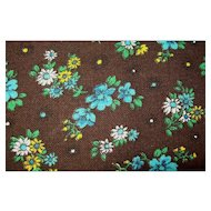 REAL VINTAGE Soft Brushed Chocolate Cotton Lt Weight Broadcloth Fabric with Blue Yellow Flowers