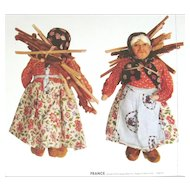 1939 LITHO PRINTED On Cloth CUT SEW STUFF FRENCH DOLL - New Front Back 2 Of 15