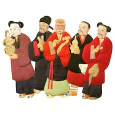 SALE Five Asian Antique Handmade CLOTH COVERED PAPER DOLLS; Hard Cardboard Base with Silk Padded Fronts - Red Tag Sale Item