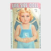 "1959 Whitman LIFE SIZE Cardboard PAPER DOLL; 34"" Tall with 8 Uncut Outfits. Unopened and Mint"