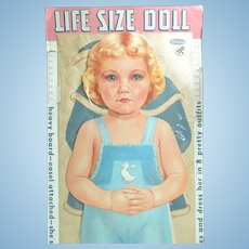 """1959 Whitman LIFE SIZE Cardboard PAPER DOLL; 34"""" Tall with 8 Uncut Outfits. Unopened and Mint"""