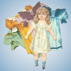 """VICTORIAN RAPHAEL TUCK Artistic Series III 9"""" Paper Doll with Four Costumes"""