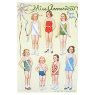 Vintage Shackman LITTLE MISS AMERICA Paper Dolls by Betty Campbell