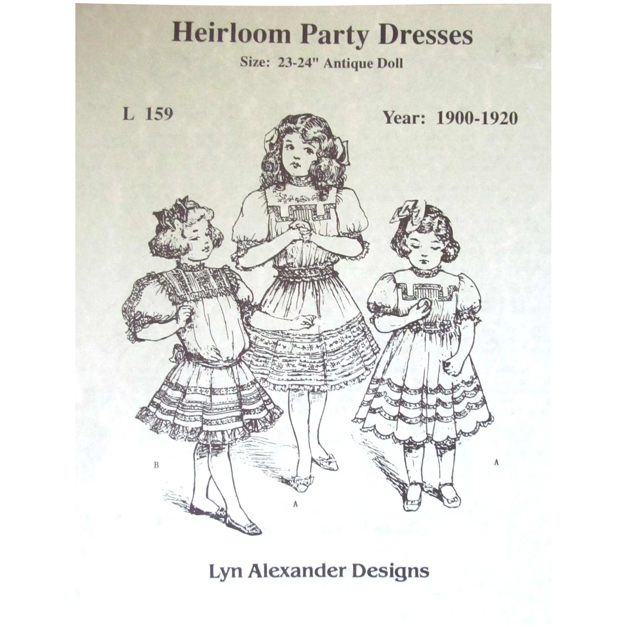 VINTAGE - 3 DOLL PARTY DRESS PATTERNS/VARIATIONS for 23-24\