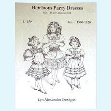"VINTAGE - 3 DOLL PARTY DRESS PATTERNS/VARIATIONS for 23-24"" Doll; Original Patterns for 1900-1920"