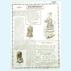 "Original Vintage Mint Hazel Ulseth - Helen Shannon Little Girls Costume for 22"" doll; 1885; Pattern includes SKIRT, POLONAISE, DRAWERS, CHEMISE, PETTICOAT AND HAT."