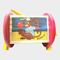 35% OFf EARLY VINTAGE Push Toy Rattle Box 4 Litho Pictures Stick Handle 1920/30