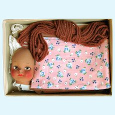 Boxed EZY-MAKE Snuggle Doll LIZA 2313; Cut and Sew Mask Face Stanped for Making 1930's; Body and Dress with Shoes and Lace Trims