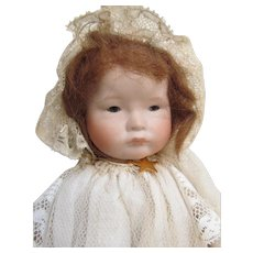Porcelain Baby with Red Hair, Jointed Porcelain Body; All ORIGINAL and Mint Condition. Vintage from GENT, Belgium with Antique Lace Clothing & Lace