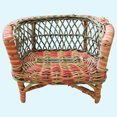 Antique Red, Green, and Natural Wicker Loveseat Chair for a 7-10 inch Jointed Doll