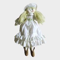 Vintage MASK FACE Soft Body Doll with Removable Clothes; Antique Eyelet Ruffles, Felt Shoes, Straw hat, Yarn Hair