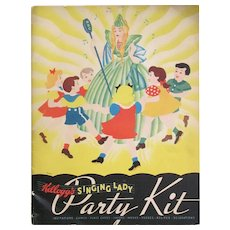 50% OFF GOTTA SELL Kellogg's SINGING LADY PARTY KIT. Advertising Booklet with Original Envelope; Invitations, Masks, Place Cards, Party Favors, AND Recipes for Party Goodies