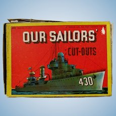 OUR SAILORS Cut-Outs by Samuel Lowe Publishing #602; Four Uncut Stand-up Cards with Sailor Designation on Each Cut-out