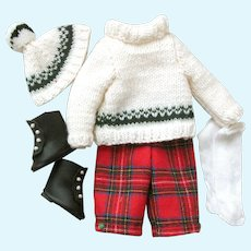2 Sets - Boy and Girl with Hand Knit Sweater Sets with Matching Pants and Skirt; Hats, Socks, Shoes