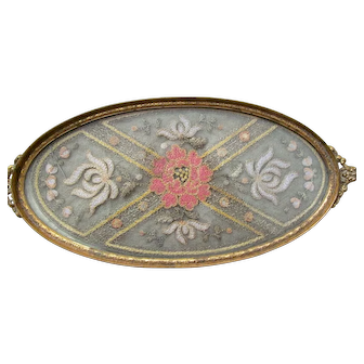 "Gold Plated ""DORANTIQUE APOLLO"" 2697 12 Glass Victorian or Edwardian Lace Floral Embroidered Vanity Tray - with a Needle Insert"
