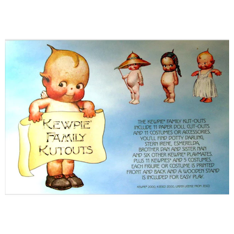 KEWPIE FAMILY CUTOUTS-11 Paper Doll and 11 Costumes or Accessories:Dotty Darling, Stern Irene, Esmerelda, and 8 Other Kewpie Playmates; Costumes Front and Back