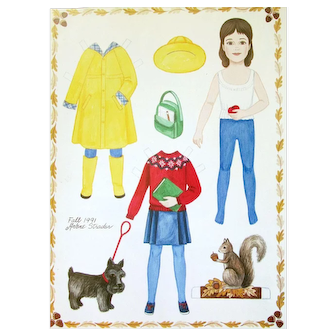 HEIDI DOLL - 7 Paper Dolls by ARLENE STRADER - 1990/1991; Country Folk Art Magazine - Received Directly from the Editor - Never Inserted