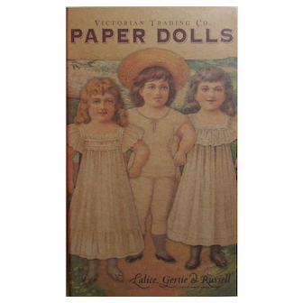 VICTORIAN PAPER DOLLS: Lalice, Gertie, & Russell, 3 Dolls and Costumes, Original Plastic, with Wood Stands