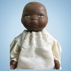 """SHACKMAN Black Baby Bisque Doll; 5.5"""" with a Jointed Body"""