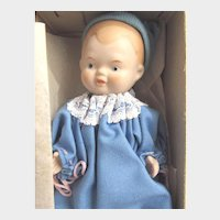 "SHACKMAN Boy Baby with Original Box: 5 Joint Bisque Porcelain 5.5"" Doll Turned Head, Blue Cotton Gown and Blue Knit Hat"