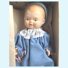 """SHACKMAN Boy Baby with Original Box: 5 Joint Bisque Porcelain 5.5"""" Doll Turned Head, Blue Cotton Gown and Blue Knit Hat"""