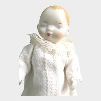 """SHACKMAN Miniature Bisque Byelo Baby; Original Box and Tag: 5 Joint Bisque, 5"""" Doll Turned Head, White Cotton Dress with White Lace Trim"""