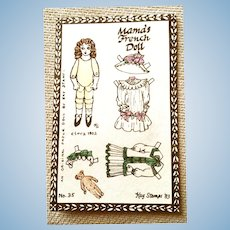 MAMA'S FRENCH DOLL Unused Paper Doll on a Post Card Designed by Kay Stamps in 1983: No 35