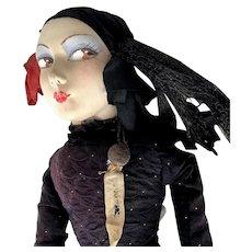 LAZARSKA FRENCH BUTTON BOUDOIR DOLL 1920's Art Deco; Mask Face, Painted On Shoes, Hooped Skirt, Brocade & Silk Dress, Sawdust Stuffed