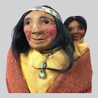 ORIGINAL Mary Francis Woods Indian Woman with Child SKOOKUM; Mint Condition Dated Approximately 1915